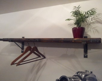 "rustic look clothes rail with 12"" shelf and  wall brackets"