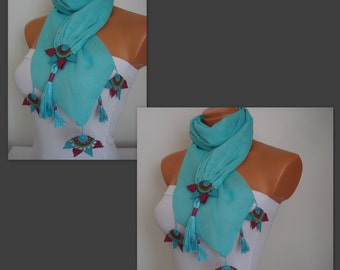 Scarf Turkish-Anatolian Oya Scarf Hand Crocheted Lace Scarf Turquoise Cotton Scarf Ethnic Scarf Authentic Scarf  Double Layer Cotton Scarf