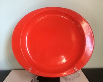 Enamel Plates in Bright Red, Camping Picnic Plates Set of 4