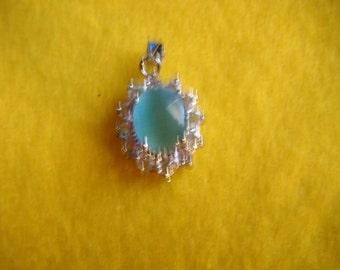 Silver and Aqua Pendant