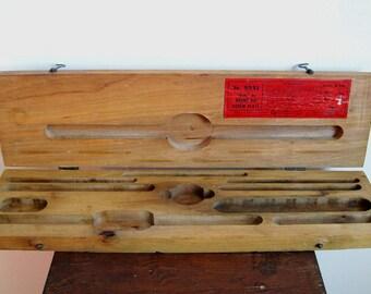 Vintage wood tool storage box latching box tap and die set box