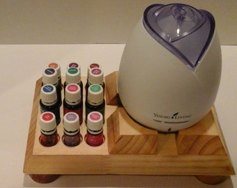 """Young Living/doTerra Essential Oil STARTER Stand and Diffuser Display - """"Double Holes"""" for both size bottles and Home & Dewdrop Diffusers"""