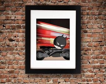 Batman Inspired Printable Art Superhero Motorbike Digital Instant Download Poster Print Child Nursery Boy Kid