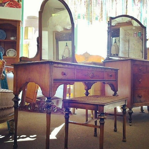 Items Similar To Antique Dressing Vanity W Bench By