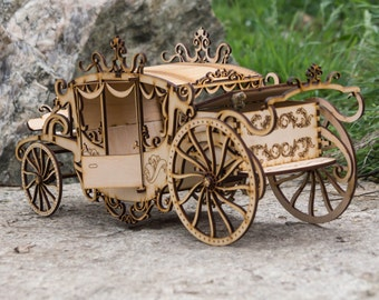 Carriage, wood Carriage, wooden present,Princess Carriage,marrige gift,marrige wood gift
