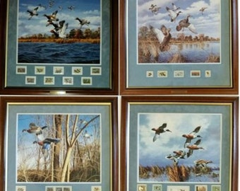 Four Framed RARE MINT Canvas Lithographs/Prints w/5,9,9,9 '85-94 Duck Stamps by David Maass