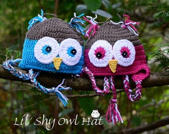 Li'l Shy Owl Crochet Hat, Newborn Hat and Photo Prop