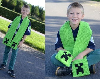 Minecraft Crochet Hat's, Enderman and Creeper, and Minecraft Creeper Scarf