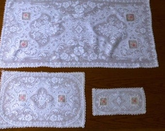 Set of three vintage filet lace runners with insets of cross stitch embroidery