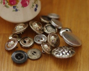 Vintage silver tone button collection