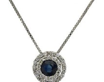 Sapphire Necklace Diamond Pendant Blue Sapphire & Diamond Halo In 14k White Gold