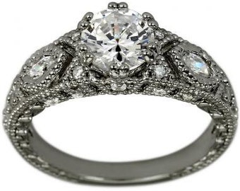Vintage Ring 1 Carat Diamond Engagement Ring Marquise Diamond Accents In 14K White Gold