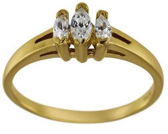 Marquise Diamond Engagement Ring Marquise Diamonds 14K Yellow Gold Ring 0.40ct