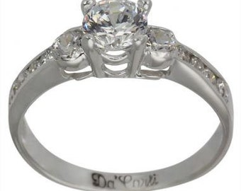 Engagement Ring With 0.50 Carat In 14k White Gold Diamond Ring With Side Stones