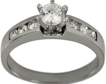 Diamond Ring Engagement Ring 1/2 Carat Round Cut Diamond In 14k White Gold