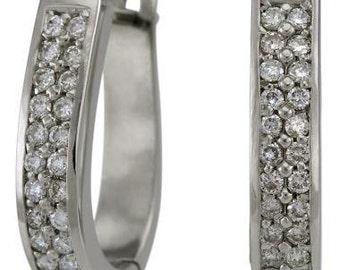 1 Carat Diamond Earrings For Women Pave Diamonds In 14k White Gold