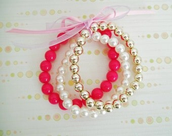 Triple Beaded Stretch Bracelet - Pink, Gold and Pearl