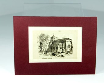 Matted Lithograph of London's Waltham Abbey from Shakespeare's The Merry Devil of Edmonton Antique Book ~ Ready To Frame