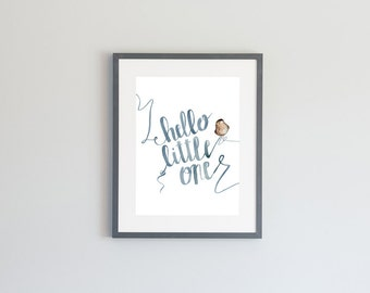 Hand Painted Watercolor Archival Giclée Print - Hello Little One - Little Bird