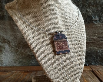Portugal Postage Stamp brown and Black Necklace