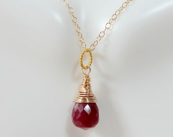 Free shipping. gold filled wire wrapped ruby necklace - July birthstone