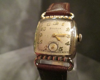 Vintage Bulova Manual-Wind Gold Plated Art Deco Men's Watch