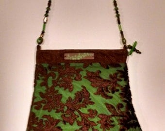 Brown and green burnout velvet handbag