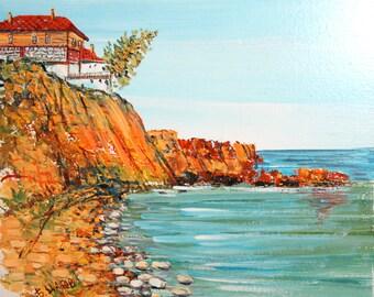 Vintage oil painting impessionist sea coast