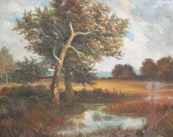 Impressionist oil painting vintage landscape forest