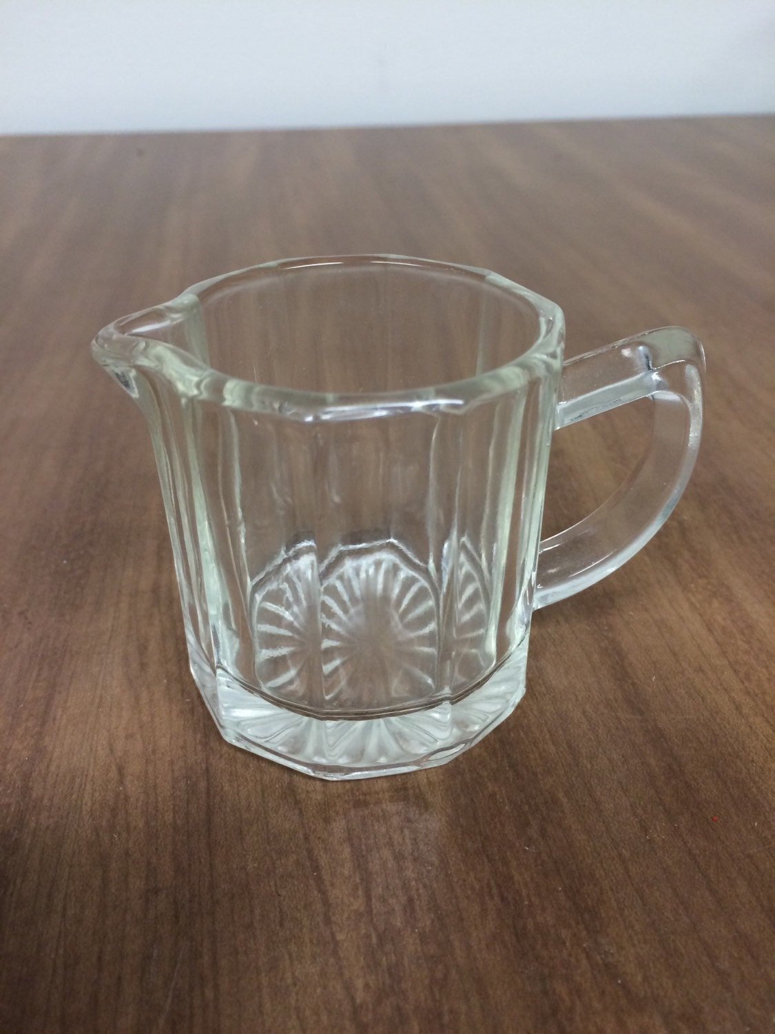 Vintage Small Clear Glass Creamer 10 Panel With Starburst