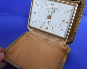 EUROPA ( German) Vintage  ( Working) Travel Alarm Clock in Brown Case.