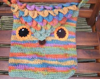 colourful hand crocheted owl shoulder bag