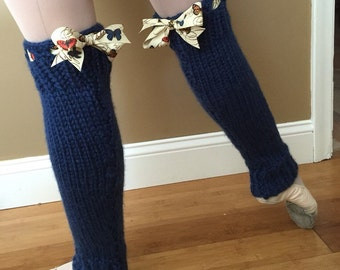 Ballet Leg Warmers: Blue with Butterfly Bow