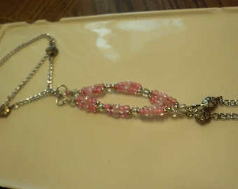 Pink and silver beaded slave bracelet