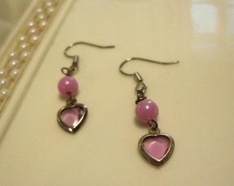 purple dangle earrings on hooks