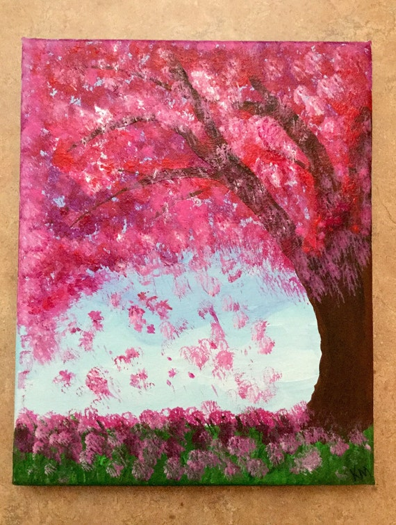"Abstract Art, Cherry Blossom Painting, Stretched Canvas Art, 8"" x 10"" Acrylic Art Painting, Wall Art, by Kim Mlyniec"