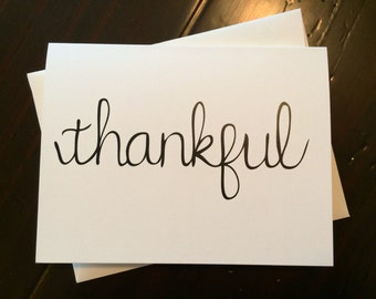 Thankful Card {set of 4} - folded, hand lettered notecard with envelope