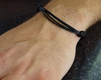 Mens Bracelet, Adjustable Black Leather cord Bracelet, Masculine Jewelry, Masculine, Handmade Jewelry, Gift for him, minimalist bracelet
