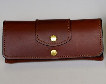 Hard leather eyeglass case - Medium Brown