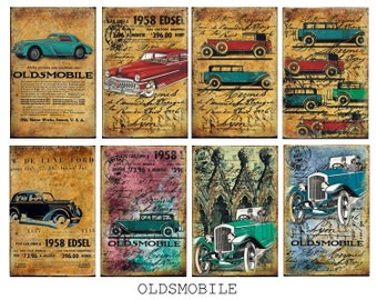 Decorative Scrapbooking Papers Set of 8 sheets 7 x 10cm - Retro Cars