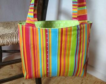 Shoulder bag – Handmade Oilcloth bag – Woman's Handbag – Tote bag – Summer bag – Medium size bag – Striped bag – Polka dot lining