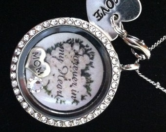 Memorial Floating Locket Necklace Silver with Crystals will add Your Personal Photo