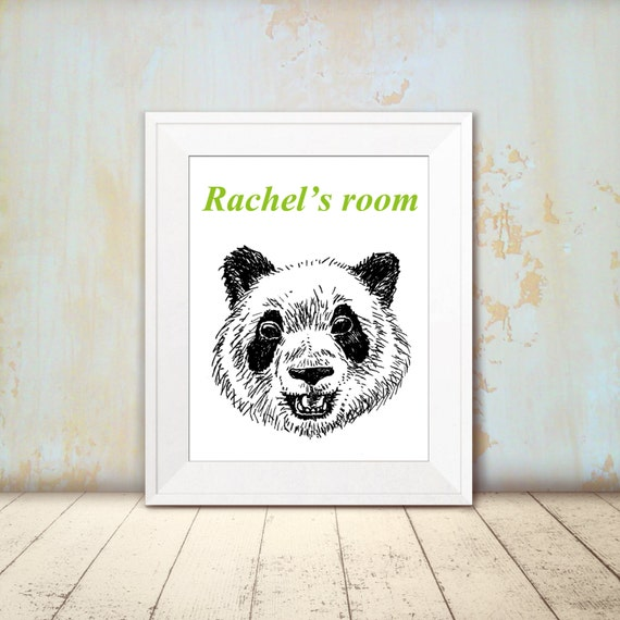 Panda wall art black and white panda bear by rachelsfinelines for Panda bear decor
