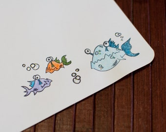 Letter Writing Set - Stationery Set - Fish Writing Paper - Pen Pals - Sea Creature Stationery  - Stationery Paper - Writing Paper - Fish