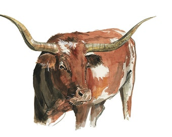 Longhorn Watercolor Illustration Print Artwork