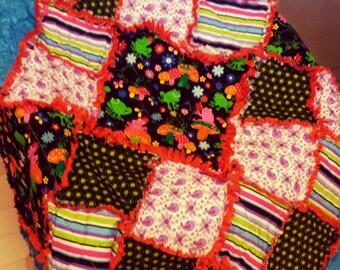 Unique Mosaic Rag Quilt(Throw)