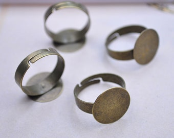 25pcs Antique Bronze Rings Metal Adjustable Rings With  15mm Round Pad