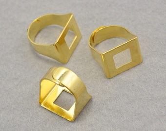 Square Ring Blank 15x18mm,Adjustable Ring Gold Plated Pad Base Adjustable Rings