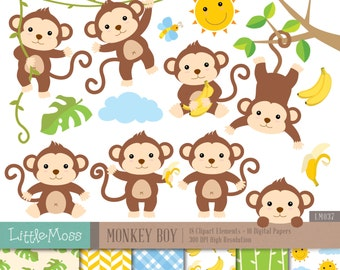 Monkey Boy Digital Clipart and Papers, Monkey Clipart