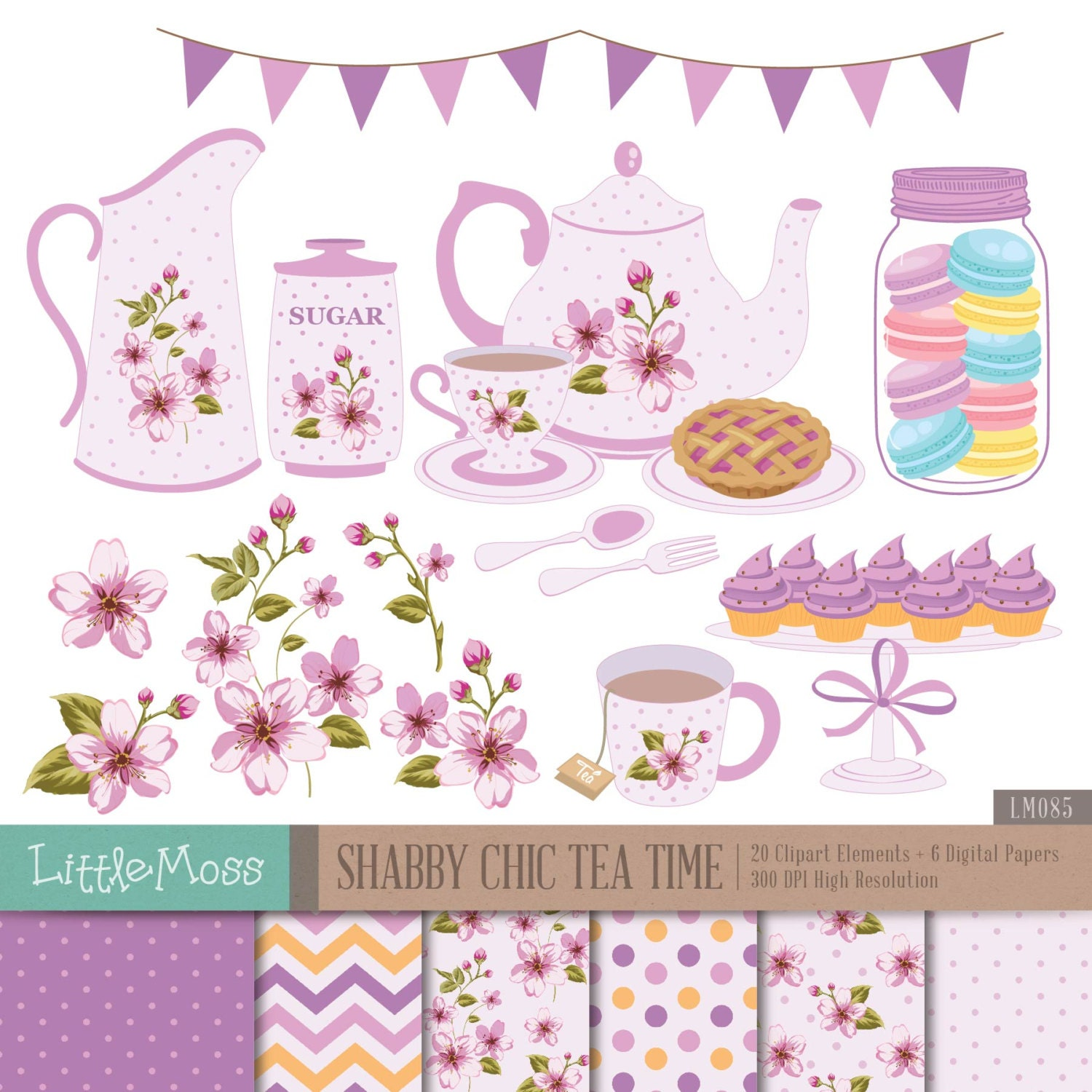 shabby chic tea time digital clipart shabby chic papers tea party clipart teapot clipart tea. Black Bedroom Furniture Sets. Home Design Ideas